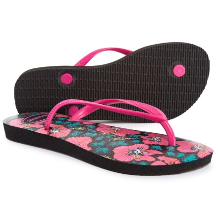04bc915f2228be Havaianas Slim Floral Flip-Flops (For Women) in Black Orchid Rose