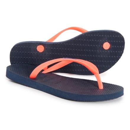 39566b66f07e Havaianas Slim Logo Pop-Up Flip-Flops (For Women) in Navy Blue