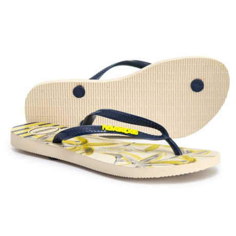 648243f9f Havaianas Slim Tropical Flip-Flops (For Women) in Beige/Navy Blue