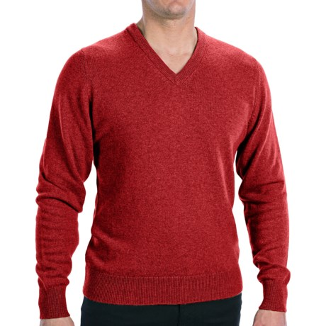 Hawick Knitwear Cashmere V-Neck Sweater (For Men) in Yellow