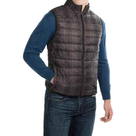 Hawke & Co Packable Down Vest - 550 Fill Power (For Men) in Black/Grey Box Plaid - Closeouts