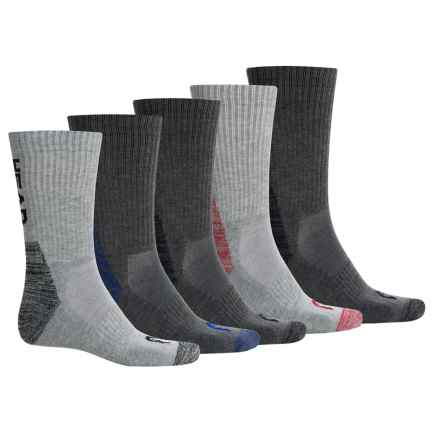Head Contrast Heel Toe Crew Socks - 6-Pack (For Men) in Grey/Dark Grey Multi - Closeouts