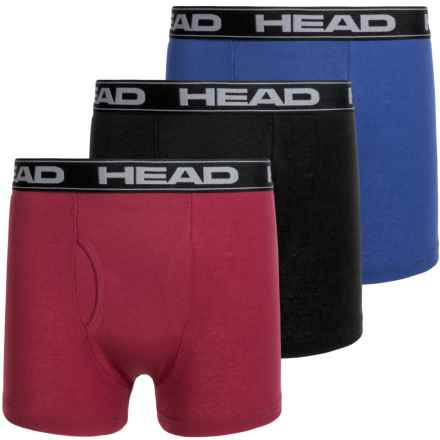 Head Cotton Boxer Briefs - 3-Pack (For Boys) in Black/Blue/Burgandy - Closeouts