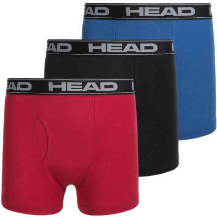 Head Cotton Boxer Briefs - 3-Pack (For Boys) in Black/Red/Blue - Closeouts