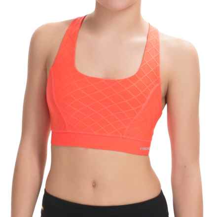 Head Diamond Jacquard Sports Bra - Medium Impact, Racerback (For Women) in Living Coral - Closeouts