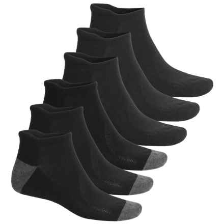 Head Logo No-Show Running Socks - 6-Pack, Below the Ankle (For Men) in Black - Closeouts