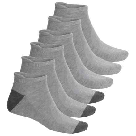 Head Logo No-Show Running Socks - 6-Pack, Below the Ankle (For Men) in Grey Heather - Closeouts