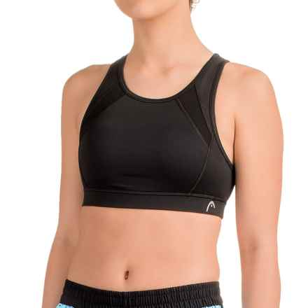 Head Mesh-Trimmed Sports Bra - Medium Impact, Removable Cups, Racerback (For Women) in Black - Closeouts