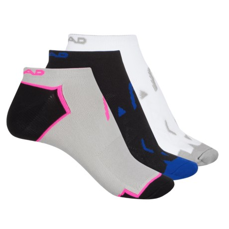 Head Micro No-Show Socks - 3-Pack, Below the Ankle (For Women) in Black/White/Gray