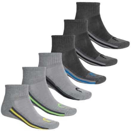 Head Multicolor Tipping Socks - 6-Pack, Quarter Crew (For Men) in Charcoal Heather - Closeouts