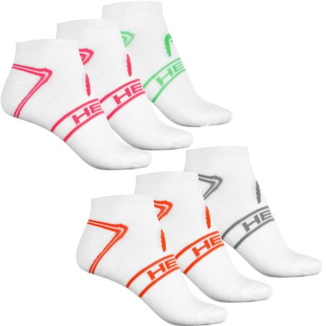 Head No-Show Socks - 6-Pack, Below the Ankle (For Women) in White