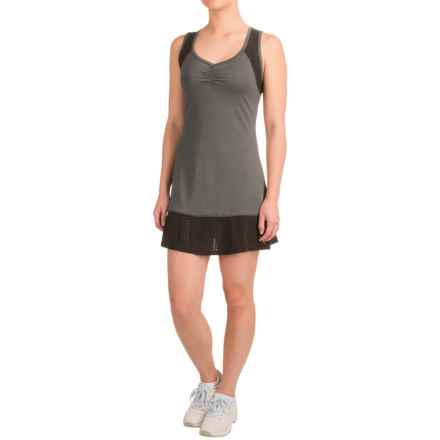 Head Perforated Combo Tank Dress -Sleeveless (For Women) in Charcoal Heather - Closeouts