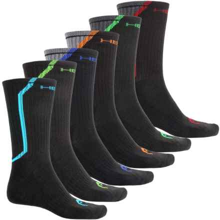 Head Rear Angled Pop Color-Block Socks - 6-Pack, Crew (For Men) in Black - Closeouts