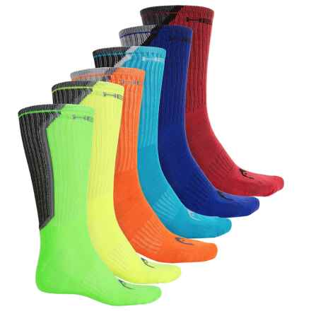 Head Rear Angled Pop Color-Block Socks - 6-Pack, Crew (For Men) in Neon - Closeouts