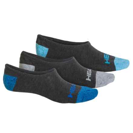 Head Sneaker Socks - 3-Pack, Below the Ankle (For Men) in Charcoal Heather/Heel/Toe - Closeouts