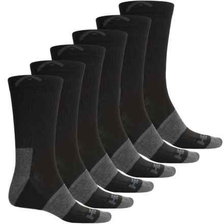 Head Swift-Dry® Pique Welt Socks - 6-Pack, Crew (For Men) in Black - Closeouts