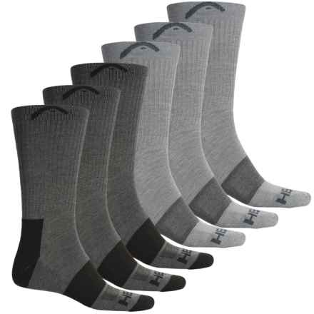 Head Swift-Dry® Pique Welt Socks - 6-Pack, Crew (For Men) in Gray - Closeouts
