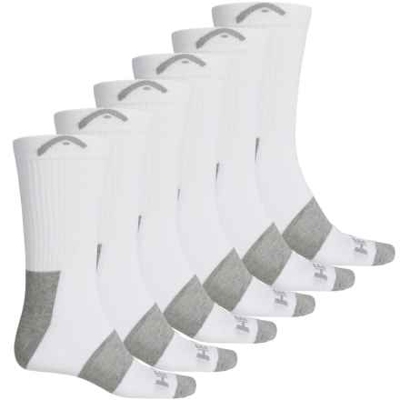 Head Swift-Dry® Pique Welt Socks - 6-Pack, Crew (For Men) in White - Closeouts