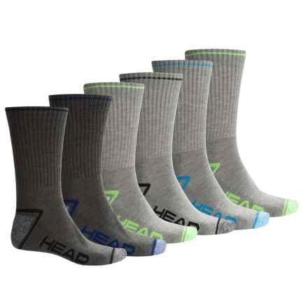 Head Swift-Dry® Socks - 6-Pack, Crew (For Men) in Charcoal Heather - Closeouts