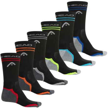 Head Tipped Arch Support Socks - 6-Pack, Crew (For Men) in Black - Closeouts