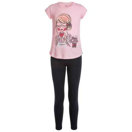 Heart Shirt and Leggings Set - 2-Piece Set, Short Sleeve (For Big Girls) in Almond Blossom - Closeouts