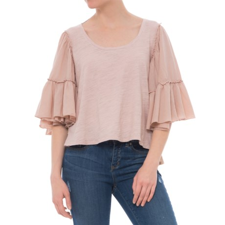 Heather Bella Cotton and Gauze Ruffle-Sleeve Shirt - Elbow Sleeve (For Women) in Seashell