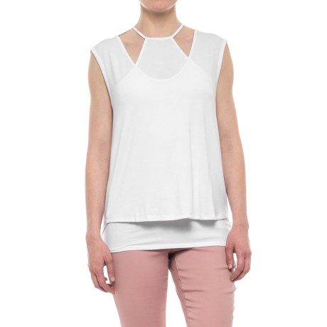 Heather Double Layered Cami T-Shirt - Modal, 2-Piece, Sleeveless (For Women) in White