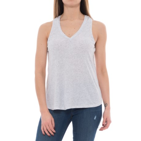 Heather Overlap Back Tank Top - Modal (For Women) in Heather White