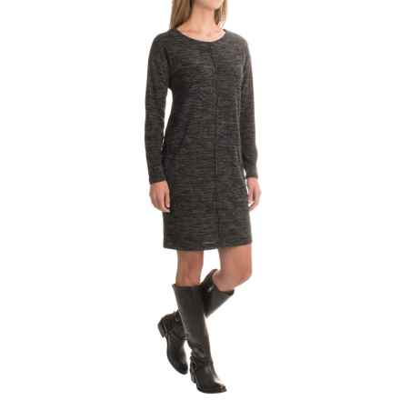 Heathered Cotton Dress - Long Sleeve (For Women) in Charcoal - 2nds