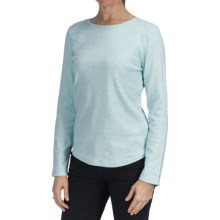 Heathered Cotton Jersey Shirt - Crew Neck, Long Sleeve (For Women) in Blue - 2nds