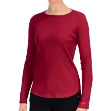 Heathered Cotton Jersey Shirt - Crew Neck, Long Sleeve (For Women) in Red - 2nds