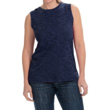 Heathered Cotton-Modal Blend Shirt - Sleeveless (For Women) in Navy - 2nds