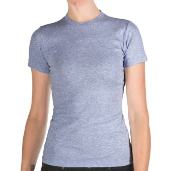 Heathered Crew Neck T-Shirt - Cotton, Short Sleeve (For Women) in Heather Blue
