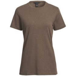 Heathered Crew Neck T-Shirt - Cotton, Short Sleeve (For Women) in Heather Grey