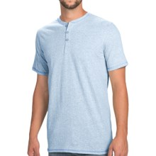 Heathered Henley Shirt - Short Sleeve (For Men) in Blue Heather - 2nds
