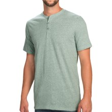 Heathered Henley Shirt - Short Sleeve (For Men) in Green Heather - 2nds
