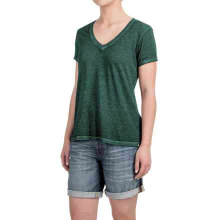 Heathered High-Low Knit Shirt - V-Neck, Short Sleeve (For Women) in Black/Green - 2nds