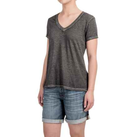 Heathered High-Low Knit Shirt - V-Neck, Short Sleeve (For Women) in Black/Grey - 2nds