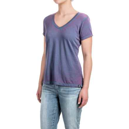 Heathered High-Low Knit Shirt - V-Neck, Short Sleeve (For Women) in Blue/Purple - 2nds