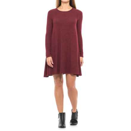 Heathered Knit Swing Dress - Long Sleeve (For Women) in Burgandy - 2nds