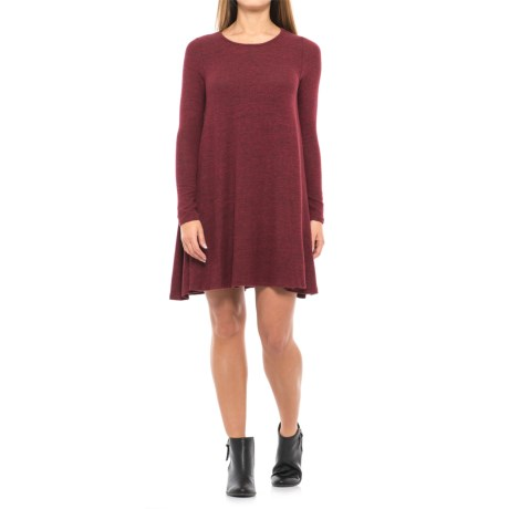 Heathered Knit Swing Dress - Long Sleeve (For Women)