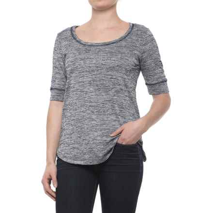 Heathered Scoop Neck Shirt - Short Sleeve (For Women) in Navy Stripe - 2nds