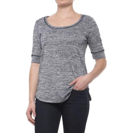 Heathered Scoop Neck Shirt - Short Sleeve (For Women) in Navy Stripe