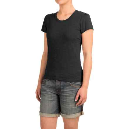 Heathered Slub-Knit Shirt - Short Sleeve (For Women) in Black Heather - Closeouts