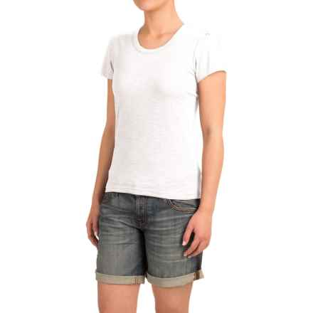 Heathered Slub-Knit Shirt - Short Sleeve (For Women) in White Heather - Closeouts