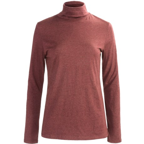 Heathered Stretch Cotton Turtleneck - Long Sleeve (For Women)