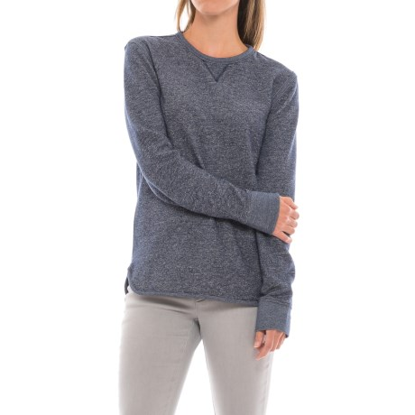 Heathered Sweatshirt with V-Insert (For Women) in Blue Heather