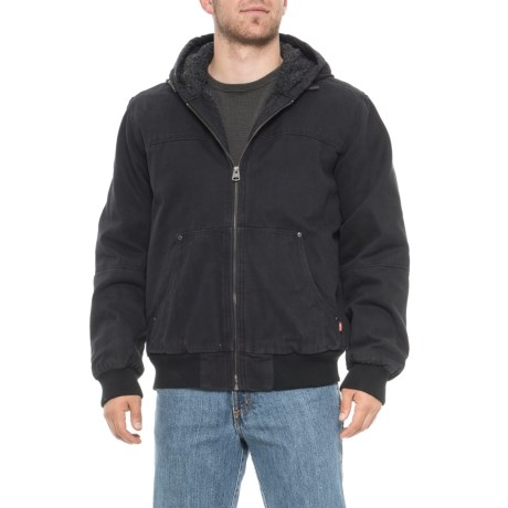 Heavy Cotton Workwear Bomber Jacket - Insulated (For Men) - BLACK (M )