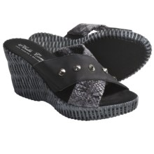 Helle Comfort Jam Wedge Sandals (For Women) in Crocket Black - Closeouts