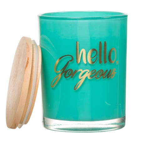 Hello Gorgeous Fresh Scent Candle - 16 oz., Wood Lid in Dark Turquoise/Flowing Waters
